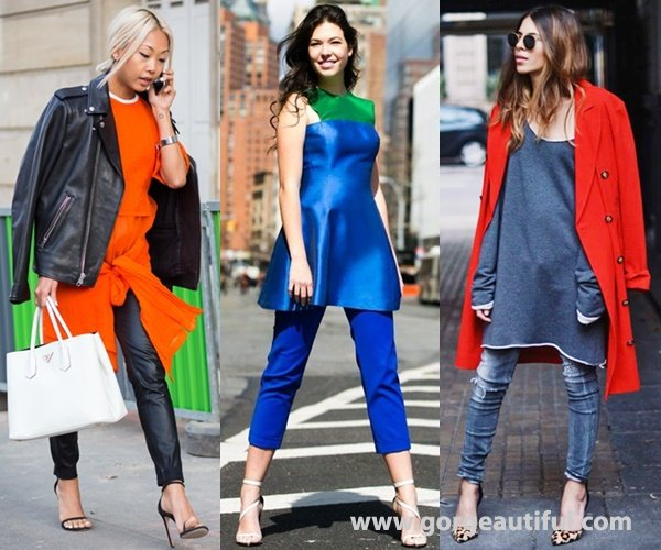 Dress Over Pants Fashion Trend with Bright Color or Pop of Color