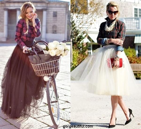 Go Glamour with Plaid Shirt and Tutu Skirt
