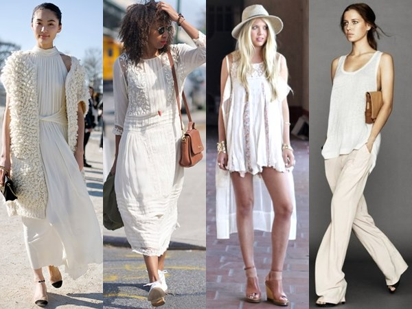 style ideas with white on white attires from spring to winter