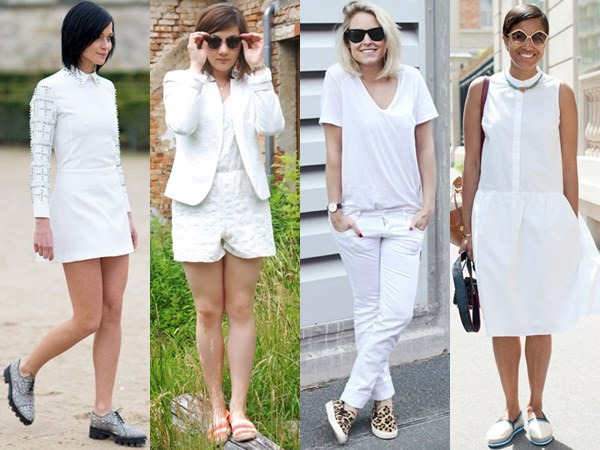 All White Outfits with Flats and Sandals