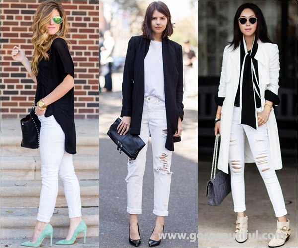 Black and White Outfit with White Skinny Jeans