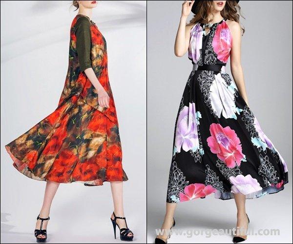 Pokwai Multicolor Linen Half Sleeve A-line Midi Dress