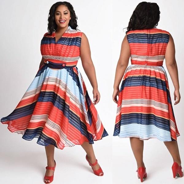 Plus Size 1950s Multicolor Striped Chiffon De Carlo Swing Dress