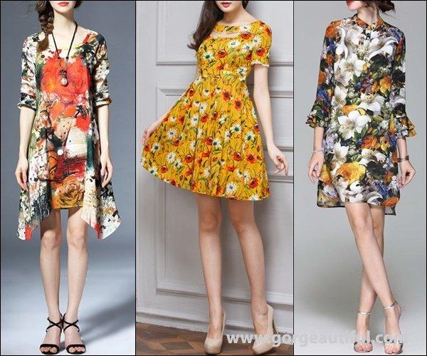 Multicolor Crew Neck Vintage Asymmetrical Floral print Midi Dress