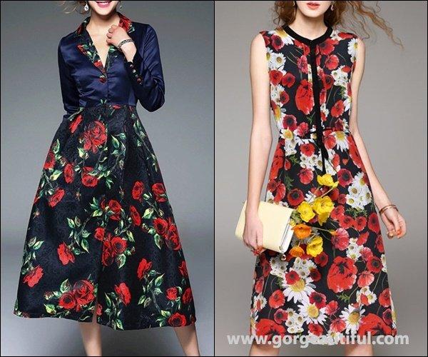 D.FANNI Crew Neck Vintage Silk Floral Sleeveless Midi Dress