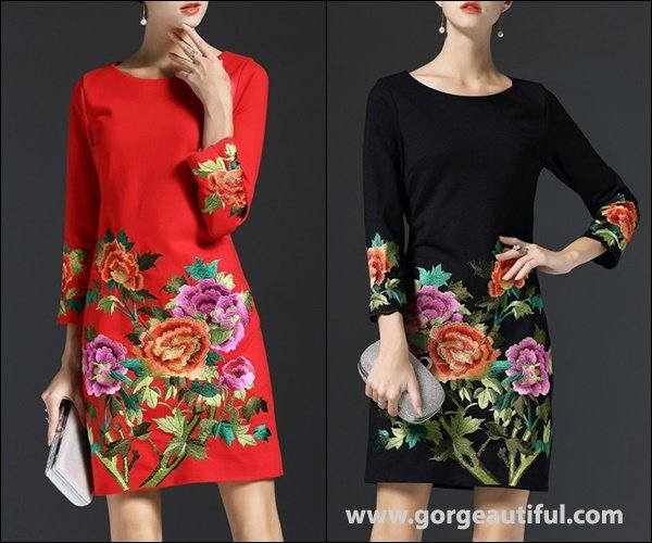 Floral Print Dresses with Different Color Combination