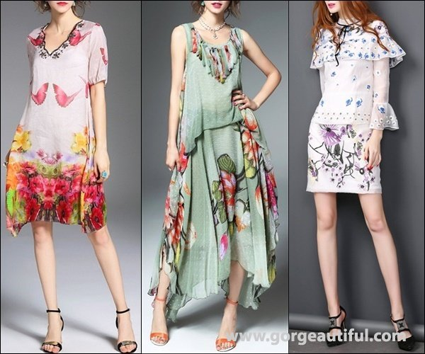 Different Placement of Floral Print Dresses
