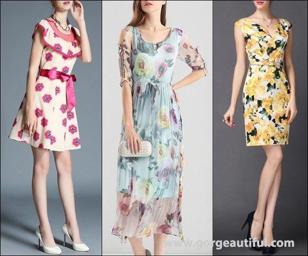 AOFULI Apricot Bow Crew Neck A-line Floral Print Mini Dress