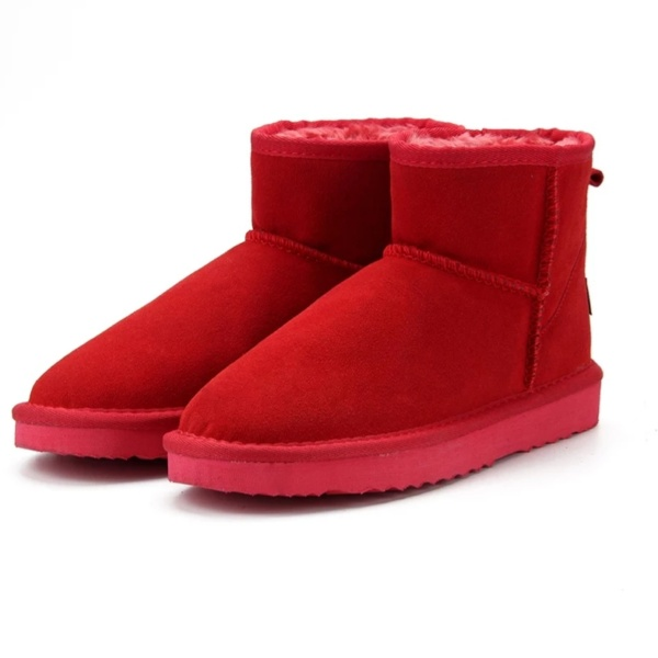 Red Genuine Cowhide Leather Ankle Boots (1)