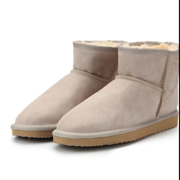 Sand Genuine Cowhide Leather Ankle Boots