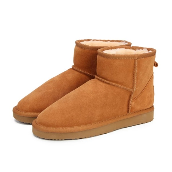 Chestnut Genuine Cowhide Leather Ankle Boots