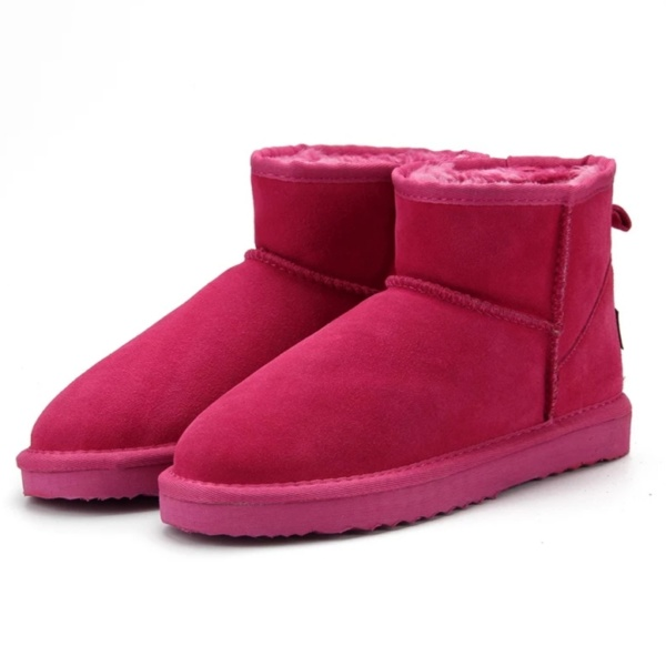 Rose Red Genuine Cowhide Leather Ankle Boots