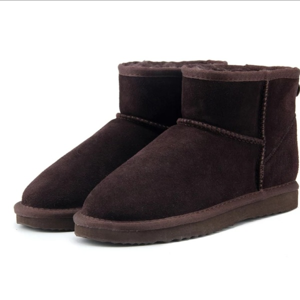 Chocolate Genuine Cowhide Leather Ankle Boots