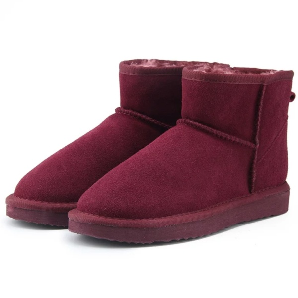 Wine Red Genuine Cowhide Leather Ankle Boots