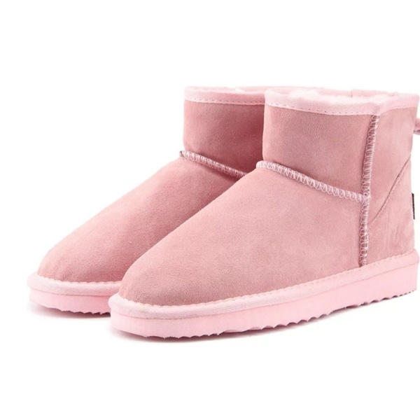 Light Pink Genuine Cowhide Leather Ankle Boots