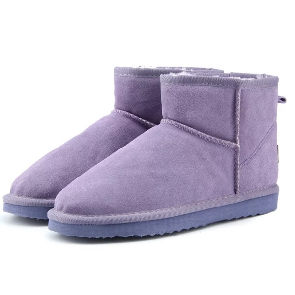 Purple Genuine Cowhide Leather Ankle Boots