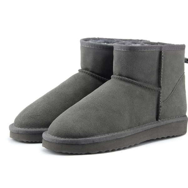 Gray Genuine Cowhide Leather Ankle Boots