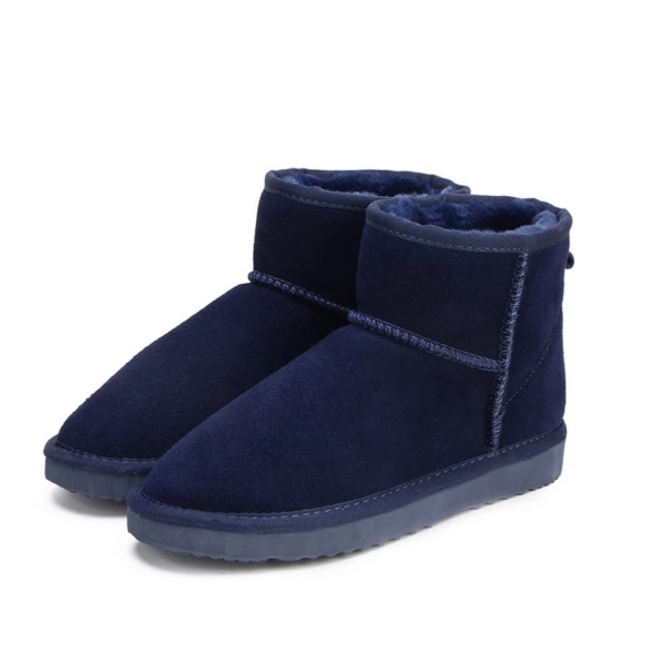 Navy Blue Genuine Cowhide Leather Ankle Boots