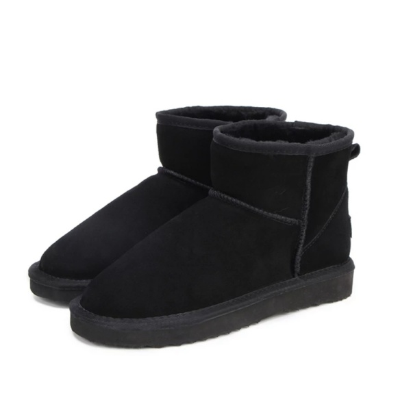 Black Genuine Cowhide Leather Ankle Boots