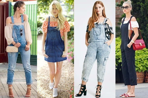 Ways to Wear Off-the-shoulder Top with Overalls (or Dungarees)