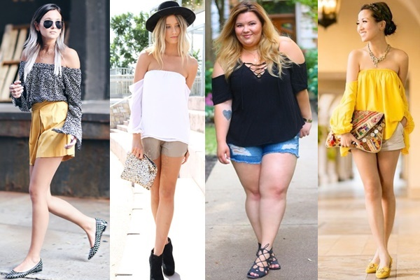 Ways to Wear Off-the-shoulder Top with Shorts