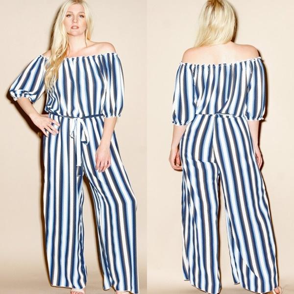 Plus Size Koshibo Stripe Jumpsuit