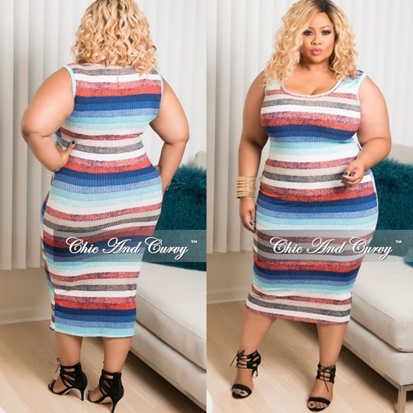 Plus Size Sleeve Bodycon Dress in Brown, Teal, Royal Blue and Red