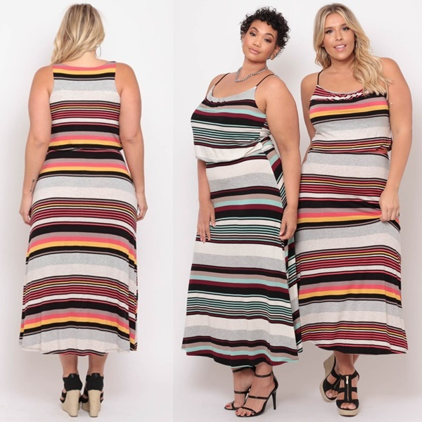 Plus Size Multi Stripe Maxi Dress
