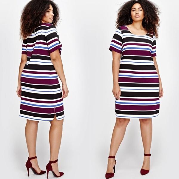 Michel Studio Striped Belted Dress