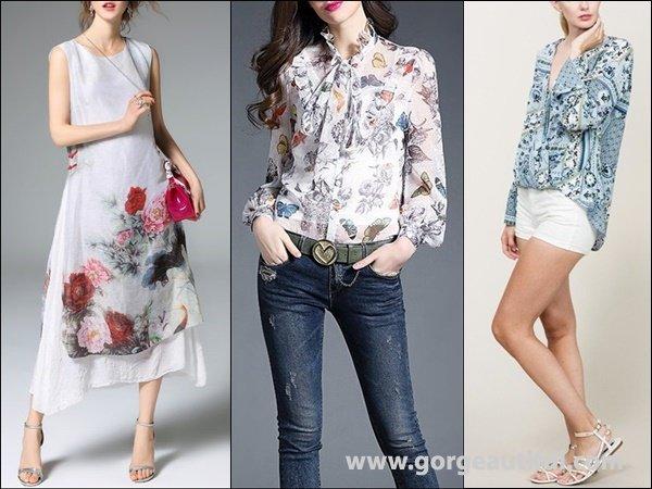 ELENYUN White Vintage Floral-print Crew Neck A-line Midi Dress