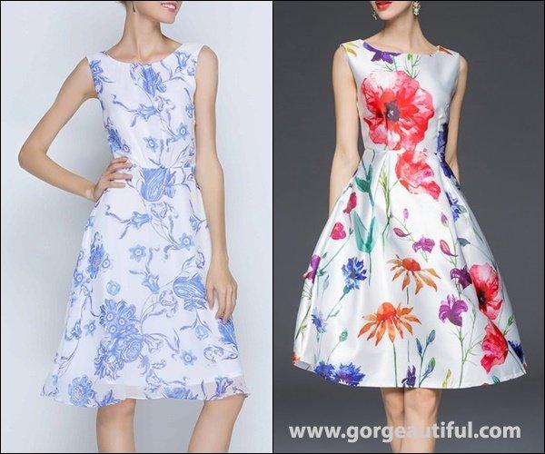 JIANSHAN Floral Big Hem Sleeveless Midi Dress