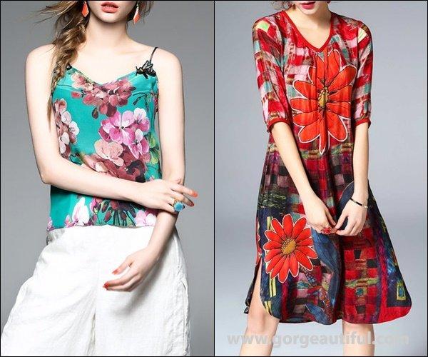 ELENYUN A-line 3/4 Sleeve Silk Floral Midi Dress
