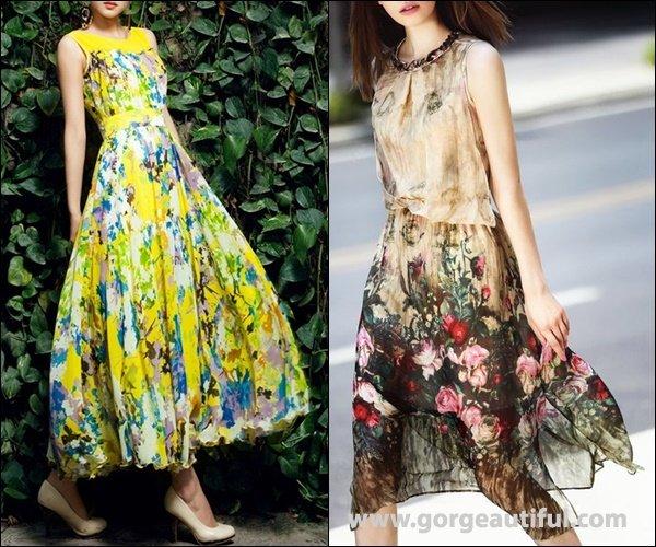 Floral Silk Crew Neck Sleeveless Midi Dress