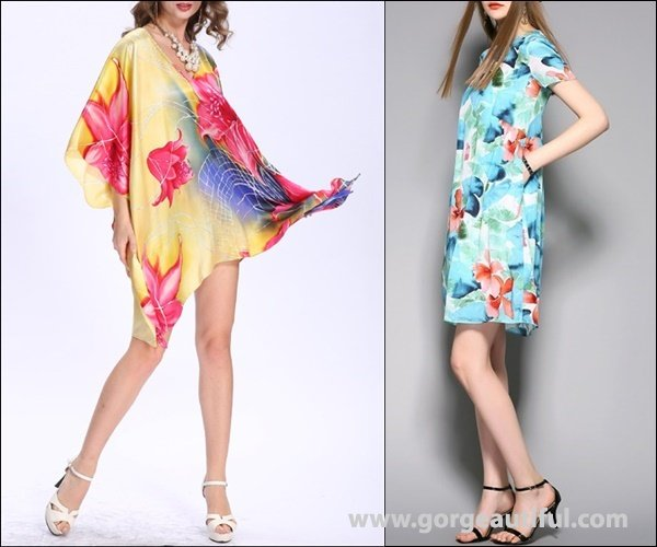 Floral-print Batwing V Neck Silk Blouse