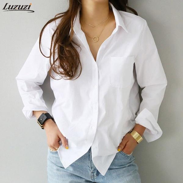 Spring One Pocket Women White Shirt Feminine Blouse Top Long Sleeve
